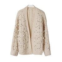Luxus Perle Handgemacht Sicken Dicken Winter Strickjacke Weibliche 2017 Mode-Design Übergroßen Wolle Pullover Frauen Jacke Süße Jumper
