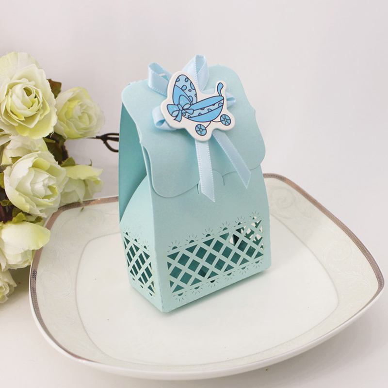 12PCS Baby Shower Hollow Favours Candy Cake Boxes Christening Gift Box with Baby carriage bib Bottle Card Birthday Party Decor