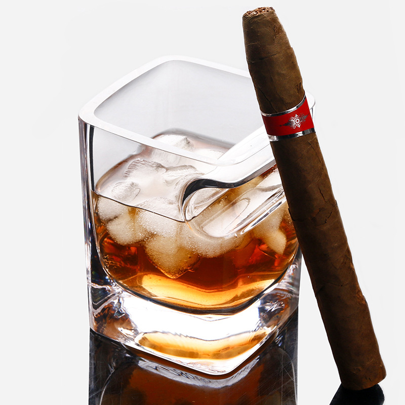 Whisky Cigar Cigarette Crystal Drinking Imported Wine Liquor Juice Cup Originality Creative Thickening Glass Square Beer Mugs