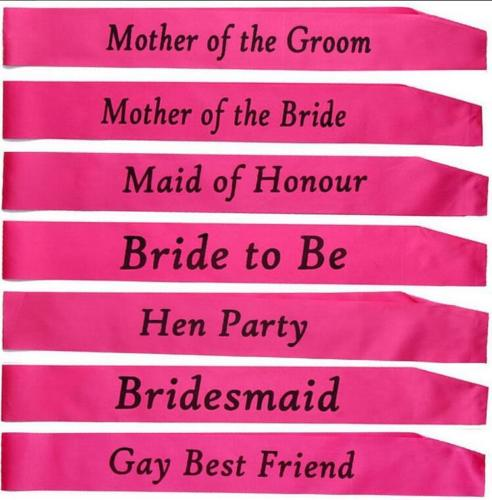 Unisex Gay Best Friend Black And Pink Sash Adults Fancy Dress Party Accessory