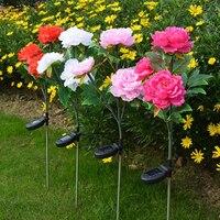 3 Head flower Solar Light LED Decorative Outdoor Lawn Lamp Home Garden Peony Flower Night Lights IP44 Waterproof Solar Lamps