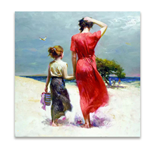 mother child oil painting ,seaside Hand Painted Unframed Impressionist Canvas figure painting, Free shipping