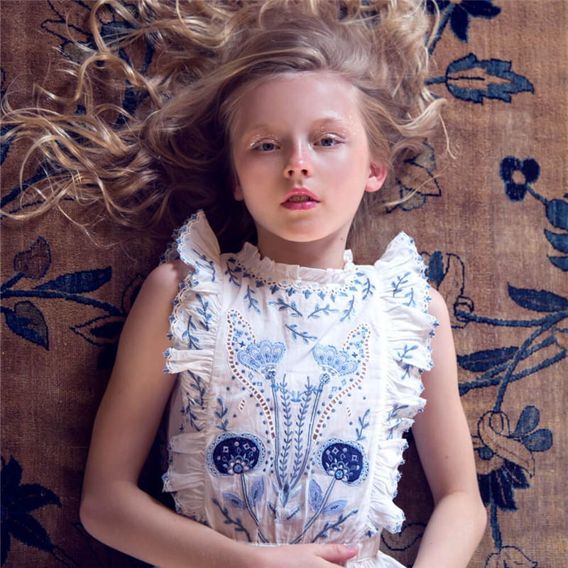 BOBOZONE 2018 NEW Floral Embroidery Dress for kids girls