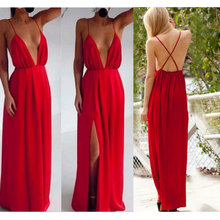 2018 High Split Women Dress Evening Party Elegant Long Sexy Red Spaghetti Strap Backless Pleated Maxi deep V dresses