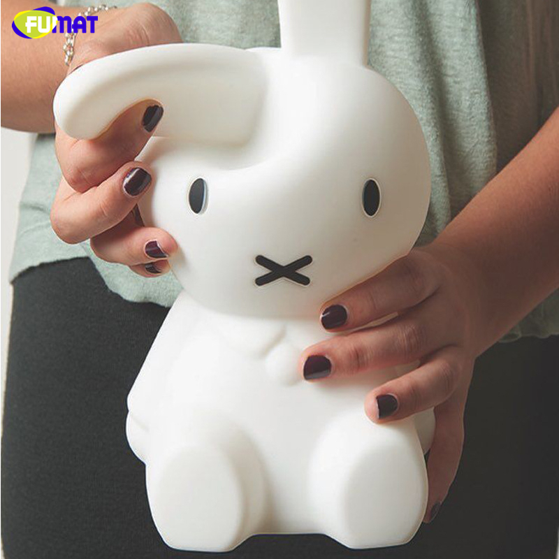 FUMAT Rabbit Night Lamps Silicone Bedside USB Creative Cute Charged Lamps Home Decor Baby Kids Gift Animal Cartoon Night Lights