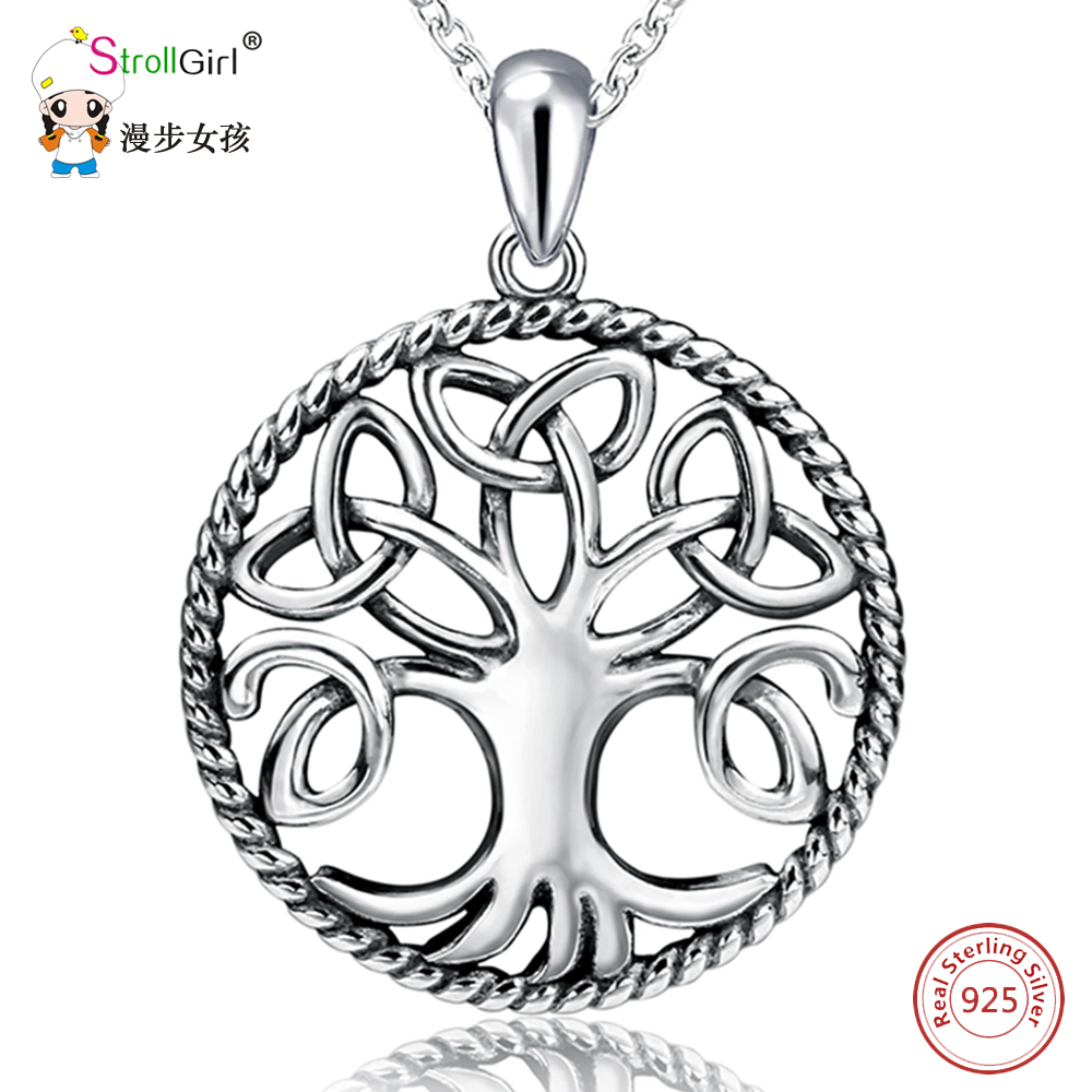 Strollgirl 925 Sterling Silver Vintage Tree Pendants & Necklaces For Women Silver Chain Celtic Knot Necklace Fashion Jewelry