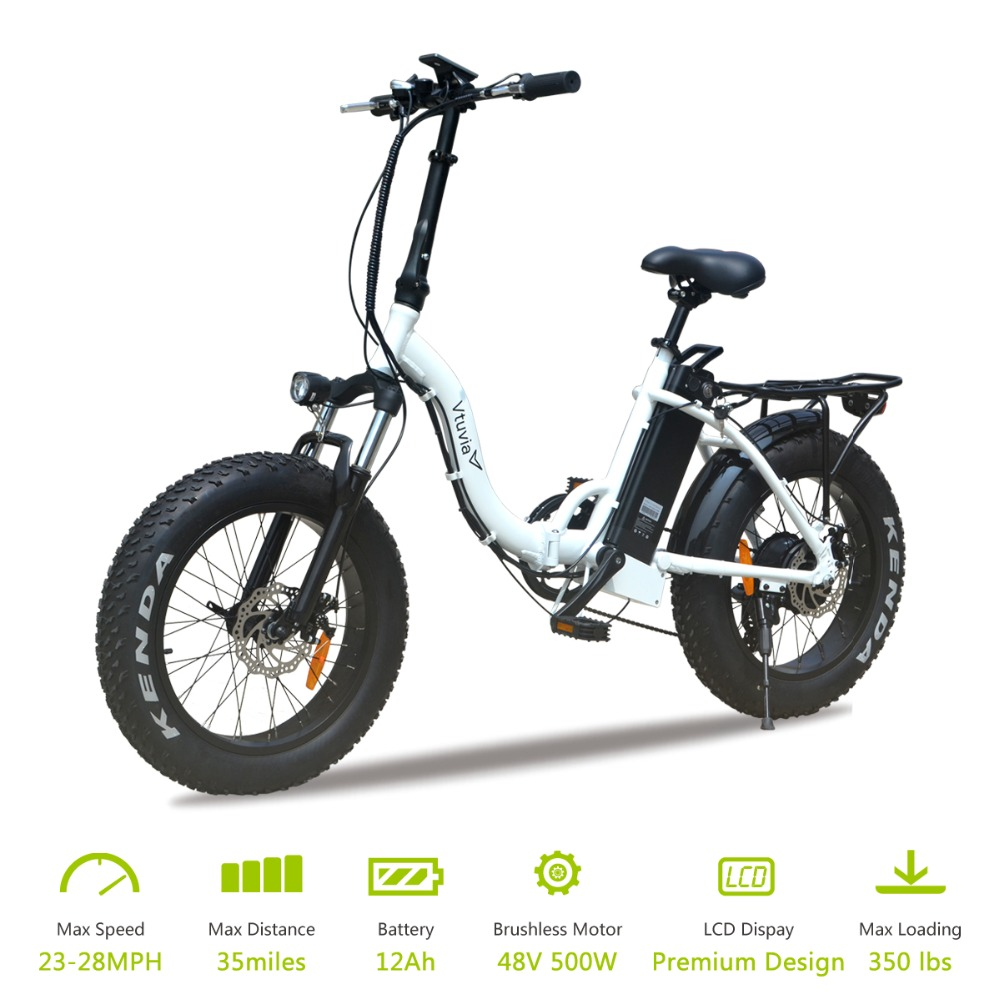 "Vtuvia 20 inch Aluminium alloy Folded Fat tire 4.0"" Ebike 48V 12Ah Lithium Battery Electric Bike LCD Display 500W E bicycle"