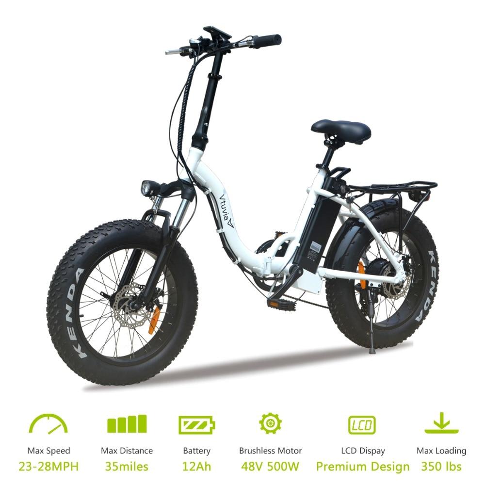 "Vtuvia 20 inch Aluminium alloy Folded Fat tire 4.0"" Ebike 48V 12Ah Lithium Battery Electric Bike LCD Display 500W E bicycle"