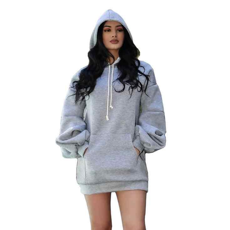 Herbst Frauen Hoodies Weicher Sweatshirts Einfarbig Schwarz Pullover Mit Kapuze Kragen Casual Sweatshirts Für Damen Hoodies V517