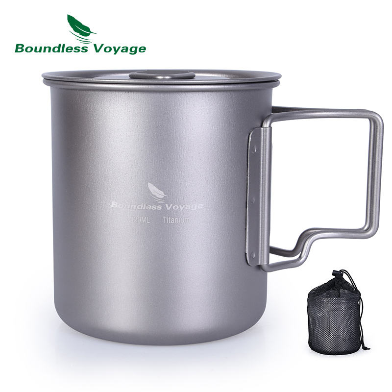 Pengangkut tanpa baki 420 ml Titanium Cup Cover Camping Tea Mug Water Cup Outdoor Picnic Folding-handle Tableware