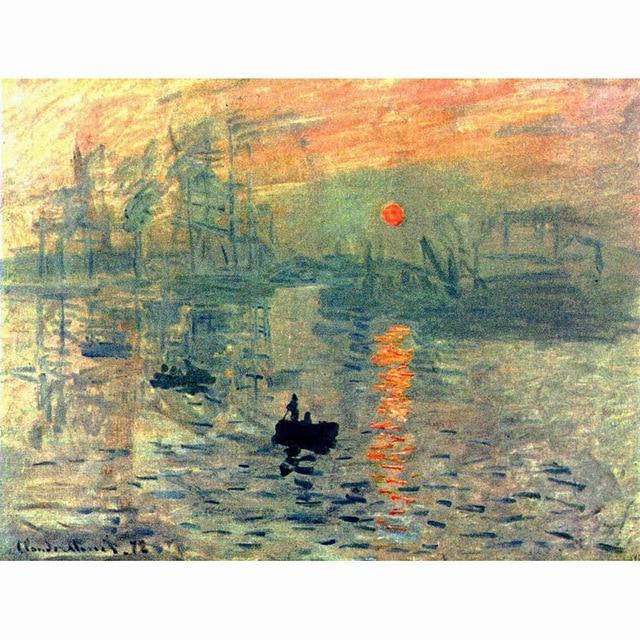 Bien-aimé Coucher du soleil par Claude Monet Célèbre Peintures À L'huile  QA97
