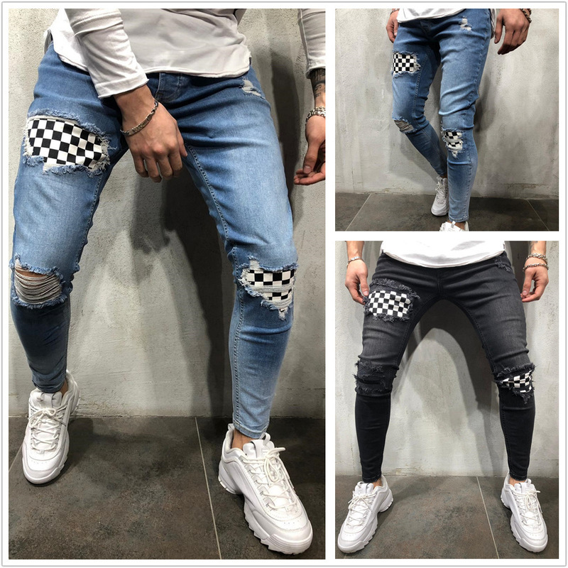Men's Hole Checkerboard Plaid Patchwork Hip Hop Jeans Trendy Patches Design Black Ripped Distressed Denim Long Pants Streetwear