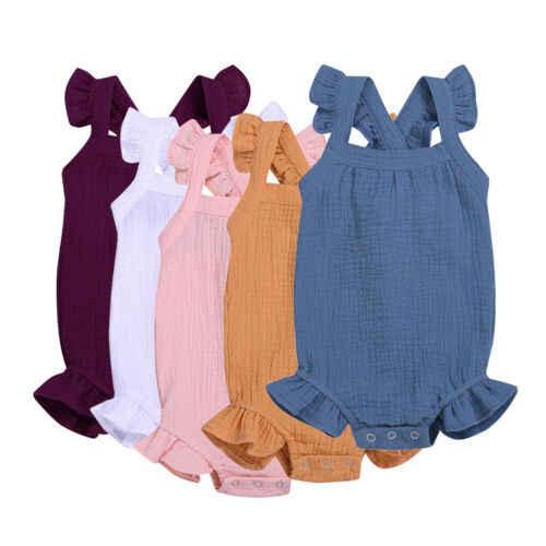 2019 marca recém-nascidos crianças do bebê meninos menina sólido sem mangas sólido bodysuit macacão outfits playsuit