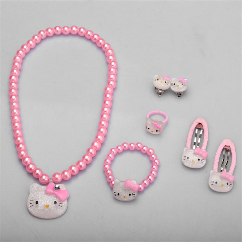Children Hair Accessories Set Hello Kitty Jewelry 1set=7pcs Jewelry Accessories Necklace Bracelet Hairpin High Quality JQ01(China)