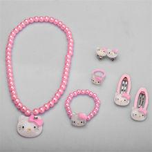 Детский набор аксессуаров для волос hello kitty, ювелирные изделия, 1 комплект = 7 шт., ювелирные аксессуары, ожерелье, браслет, шпилька, высокое качество, JQ01