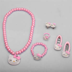 Hair-Accessories-Set Hairpin Bracelet Necklace Hello-Kitty High-Quality Children JQ01