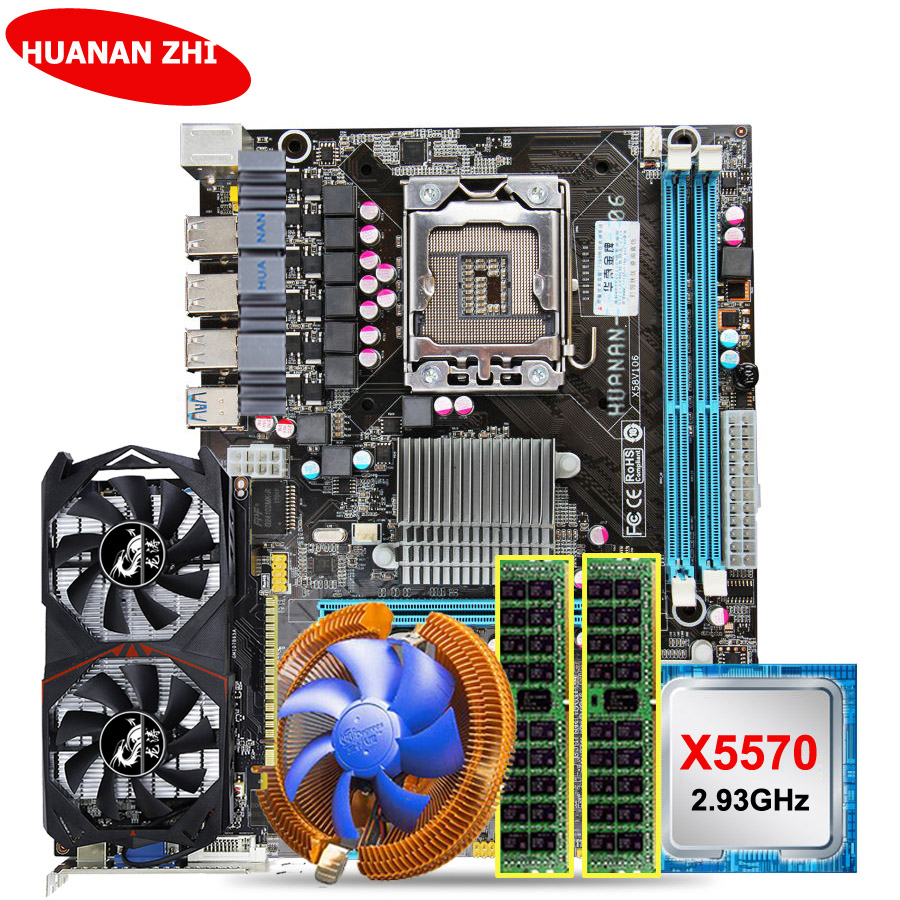 Chaude marque HUANAN ZHI X58 LGA1366 carte mère CPU RAM faisceau GTX750Ti 2g vidéo carte CPU Xeon X5570 2.93 ghz RAM 8g (2*4g) DDR3 RECC