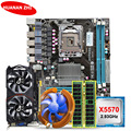 HUANAN Чжи скидка X58 LGA1366 материнской комплект с Процессор Intel Xeon X5570 2,93 ГГц Оперативная память 8G (2*4G) RECC GTX750Ti 2G видео карта