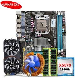 HUANAN ZHI descuento X58 LGA1366 placa base paquete con CPU Intel Xeon X5570 2,93 GHz RAM 8G (2 * 4G) RECC GTX750Ti 2G tarjeta de video