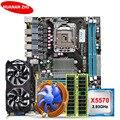 HUANAN ZHI korting X58 LGA1366 moederbord bundel met CPU Intel Xeon X5570 2.93 GHz RAM 8G (2 * 4G) RECC GTX750Ti 2G videokaart