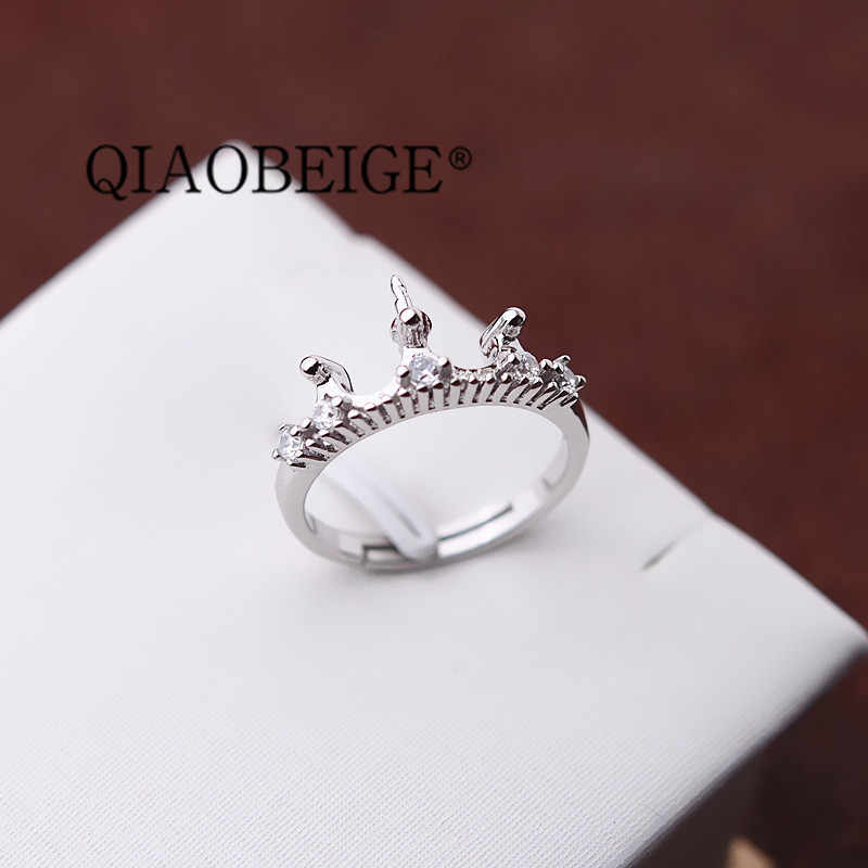 QIAOBEIGE three color 925 Sterling Silver Crown Rings For Women Adjustable Size Finger Ring Fashion sterling silver jewelry