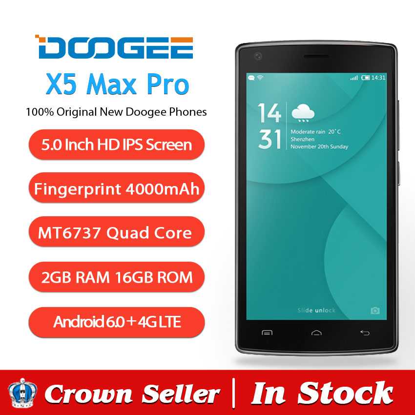 doogee x5 Макс про мобильный телефон 4 г lte 5 дюймов hd 1280 x 720 mtk6737 четырехъядерных andriod 6.0 2 гб оперативной памяти 16 гб ПЗУ 8mp камеры отпечатков пальцев идентификатор смартфон