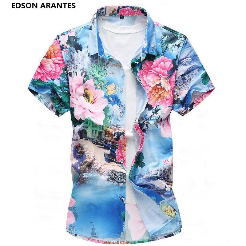 b9e946d32a03 EDSON ARANTES Plus Size 6XL 7XL Floral Shirts Men Summer Beach Hawaiian  Shirt Male Short Sleeve Holiday Vacation Men Clothing -in Casual Shirts  from Men s ...
