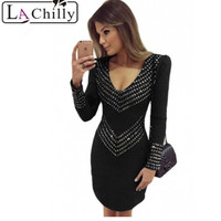 Solid Hollow Out Black Studded Long Sleeve Mini Dress LC22789 New Fashion Style Autumn Winter Dresses