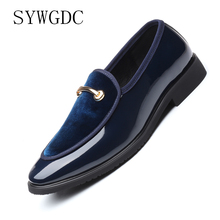 цена на SYWGDC New Fashion Men Formal Patent Leather Flat Slip-on Dress Shoes Casual Pointed Toe Solid Color Wedding Loafers Men Shoes