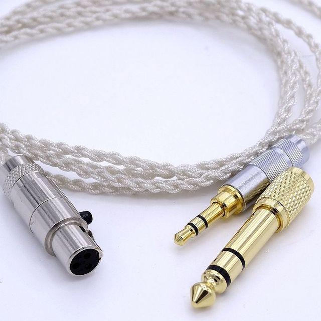AKG K272 K242 K702 Q701 1.2 metre yumuşak OCC gümüş kaplama kulaklık yükseltme kablosu kulaklık kablosu
