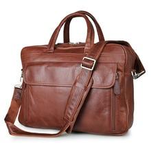 Fashion Natural Cowskin Genuine Leather Men Messenger Bags Cow Leather Men's Briefcase Business Travel Bags Laptop Handbag J7333
