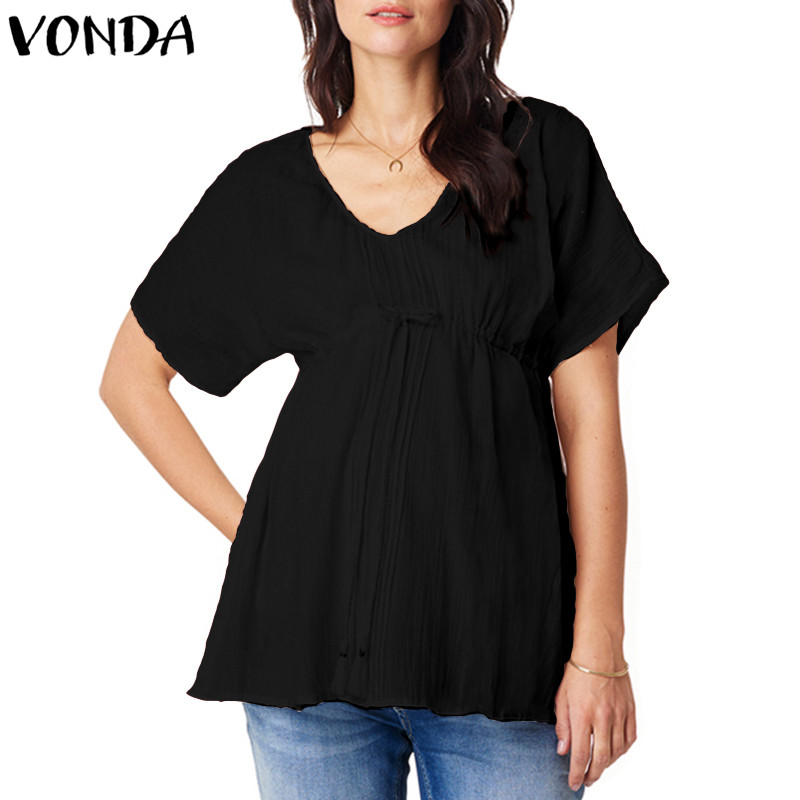 Women Blouses 2018 Summer Short Sleeve V Neck Solid Shirts Casual Loose Plus Size Tops Tees Sexy Black White Blusas Femininas