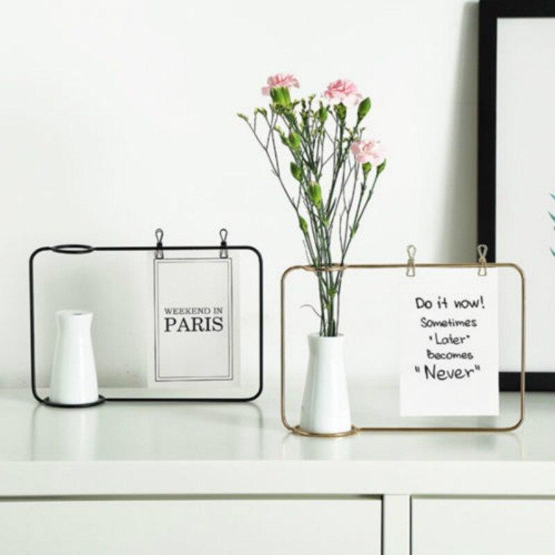 Creative Iron Line Flower Pot Plant Vase Stand Postcard Clip Holder Home Decor