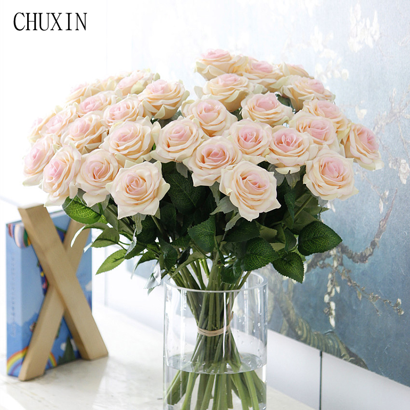 25pcs/lot new artificial flower rose peony flower home decoration wedding bridal bouquet flower high quality  fake rose flowers