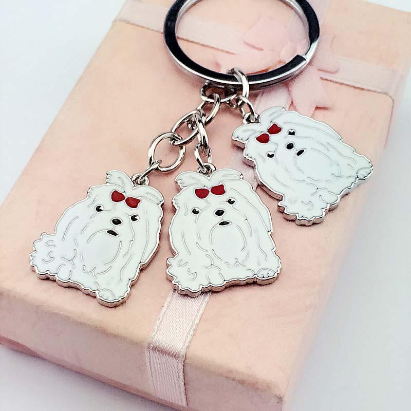 DIY Maltese Dog Pet Key Chain Car Key Ring Gift For Best Friend Metal - Fashion Jewelry - Photo 3