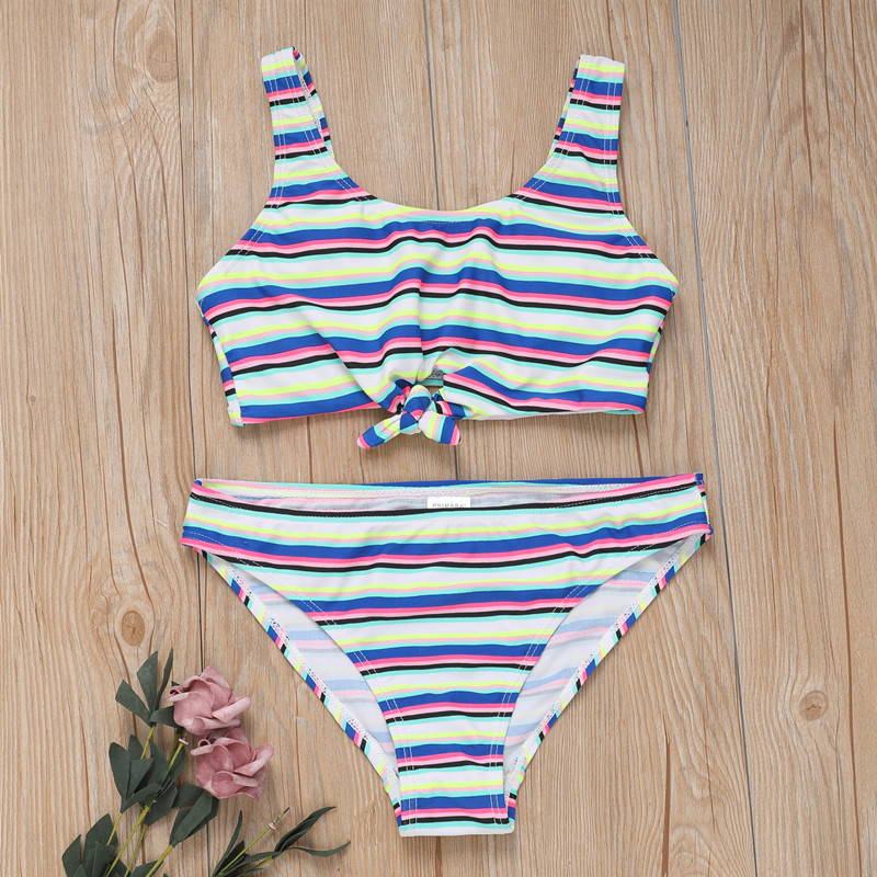 2019 Swimsuit For Girls Two Pieces Blue Striped Swimwear 6-16 Years Children's Swimwear Two Piece Bathing Suit Swimming G1-CZ957