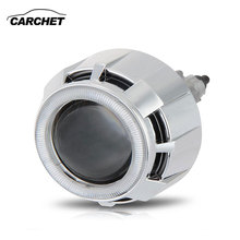 CARCHET 2.5″ Car Headlight Angel Eye For Bi-Xenon HID Projector Lens Kit H1/H7/H4/9005/9006 Auto Lamp White Car Styling 6000K35W