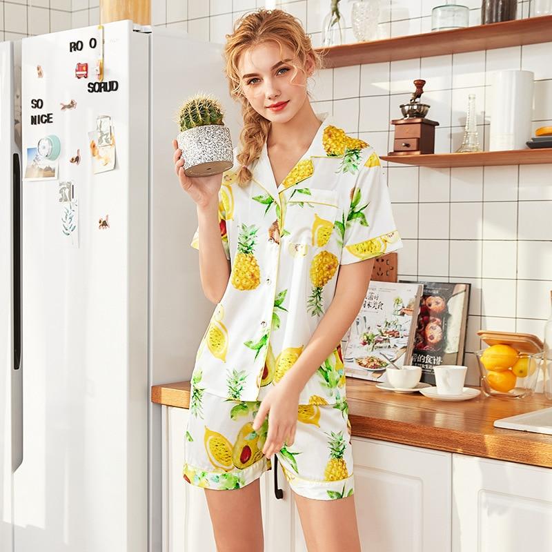 Silky Sleep Pajamas Womens Shirt Pants Sleepshirts Suit Sleepwear Sets Casual Home Wear Nightwear Sexy Robe Bath Gown M L XL