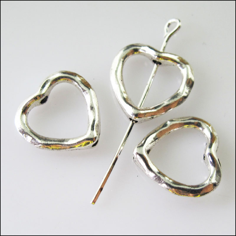 8Pcs Antiqued Silver Tone Round Circle Spacer Beads Frame Charms 13mm