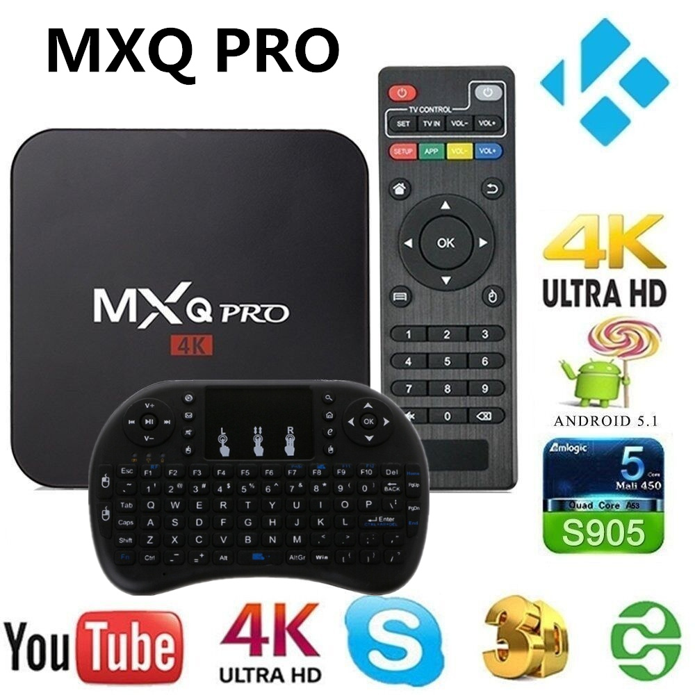AKASO MXQ Pro 4k Smart TV BOX Quad Core 1G+8G 3D MXQ 4K Set Top Box Android 7.1 TV Box S905W Media Player MXQ Pro TV BOX