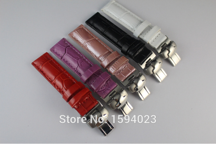 все цены на 16mm (Buckle16mm) T050 High Quality Silver Butterfly Buckle + Black White Red Purple Pink Genuine Leather Watch Bands Strap онлайн