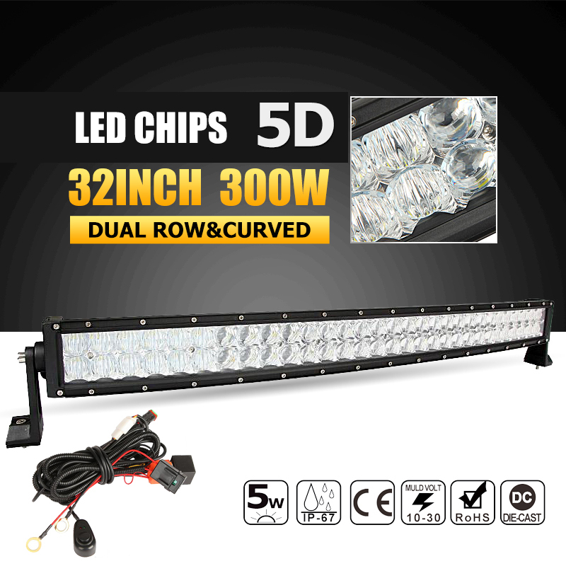 Oslamp 5D 32inch 300W Curved LED Light Bar Offroad Led Work Light Bar Combo Beam Led Bar 4x4 ATV UTV Truck Boat Pickup 12v 24v pernycess 1pcs 130cm bear cute oversized pillow stuffed toys