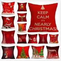 Heißer Weihnachten Kissen Abdeckung Weihnachten Ambiente Rot glücklich Platz Dekorative Kissen Fall Sofa Home housse de kissen