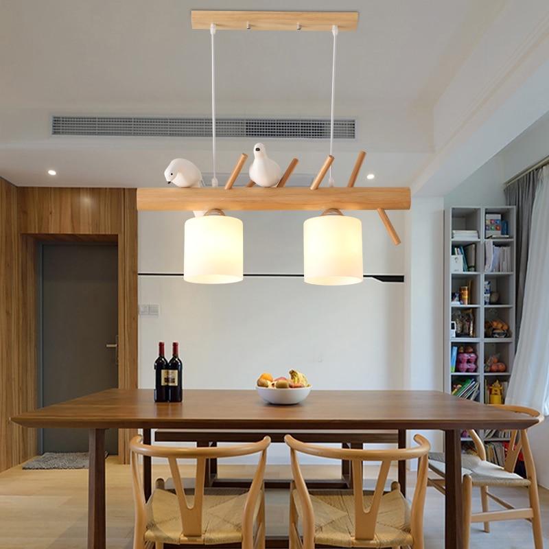 Nordic Bird Personality Restaurant Led Pendant Light Pastoral Style Creative Bar Pendant Lights Japanese Solid Wood Lamps