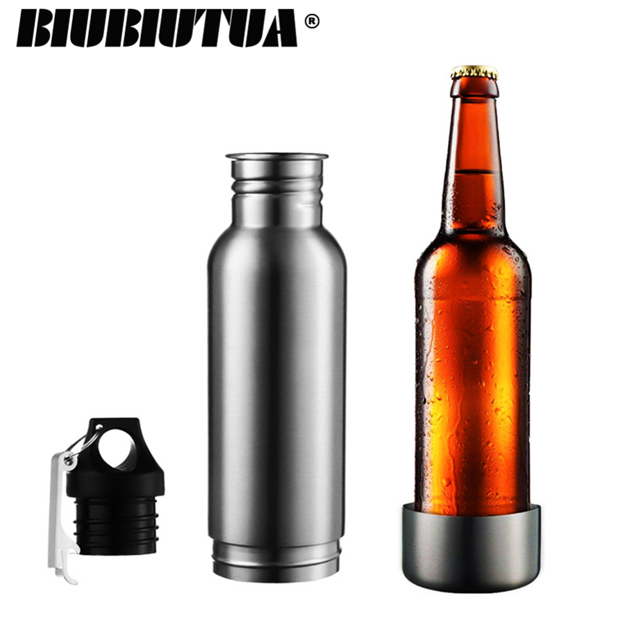 BIUBIUTUA 304 Acero inoxidable cerveza aislante Copa fría de titular con Metal abrelatas de botella de cerveza fría titular de la botella