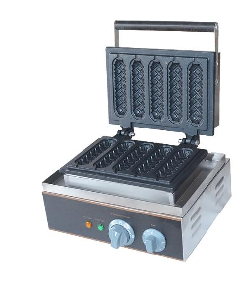 110/220V 5pcs Commercial Electric Lolly Waffle Maker Non-stick Ice Cream Skin Maker Machine EU/AU/UK/US Plug 110v 220v commercial electric waffle maker non stick single plate ice cream cone maker machine eu us bs au plug