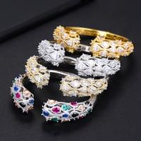 GODKI 72MM Luxury Trendy Geometry Full Cubic Zircon Women Wedding Party Engagement Resizable Bracelet Bangle CUFF Dress Jewelry