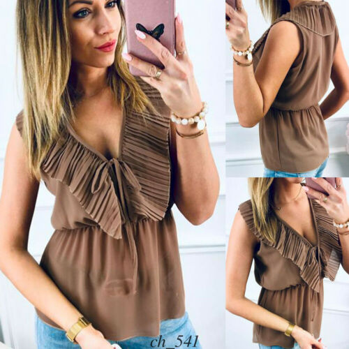 Fashion Summer Women's Casual V-neck Sleeveless Slim Bandage Solid Slim   Tank     Tops   Lady Daily Ruffles Tunic Loose Vest   Tops   S-XL