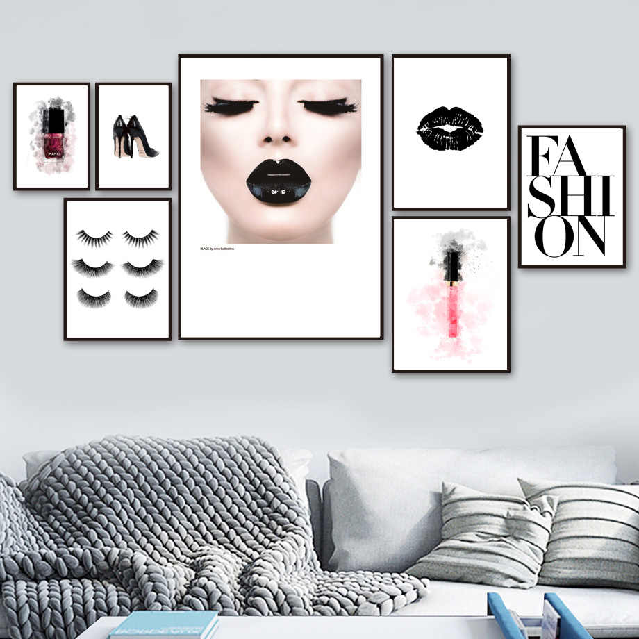Girl Lips High Heels Eyelash Nail Polish Wall Art Canvas Painting Nordic Posters And Prints Wall Pictures For Living Room Decor