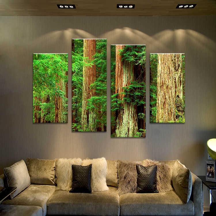 4 قطع شجرة الطبيعة قديم خمر المشهد جدار اللوحة المطبوعة على الأفكار يرسم على قماش ل ديكور المنزل جدار صور الفن no مؤطرة
